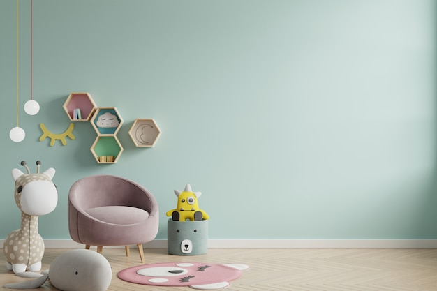 Parede do modelo na sala de crianças no fundo das cores verdes da parede.