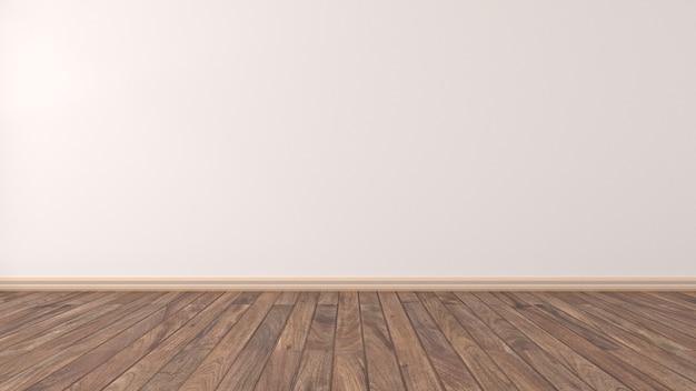 Parede do quarto vazio com piso de madeira