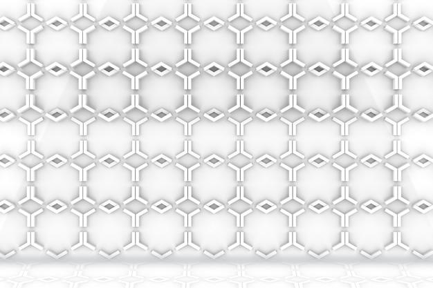 Parede do teste padrão da forma e fundo sextavados brancos modernos do assoalho.