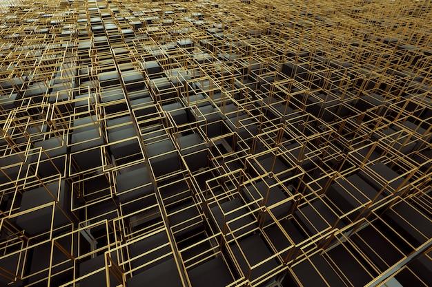 Parede dourada escura abstrata, cubos, design gráfico moderno. 3d rendem, ilustração 3d. copie o espaço.