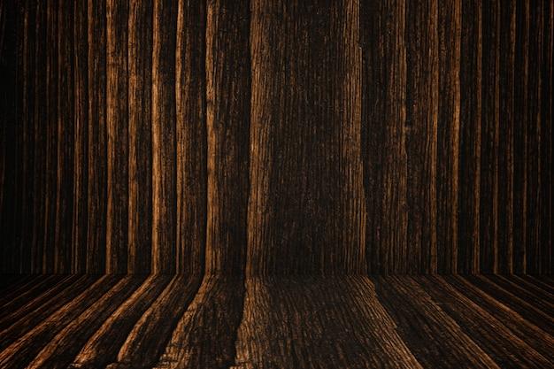 Parede e assoalho de madeira escuros do fundo do grunge.