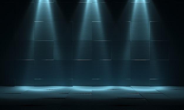Parede e chão de ladrilhos antigos com três lanternas no topo. fundo escuro abstrato. renderização 3d