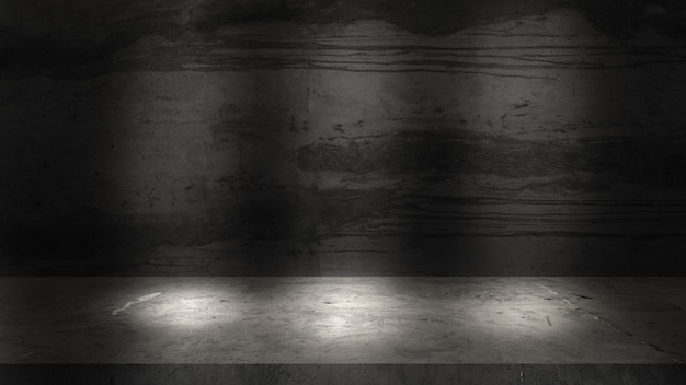 Parede e pisos de cimento cinza velho para exposição do produto.