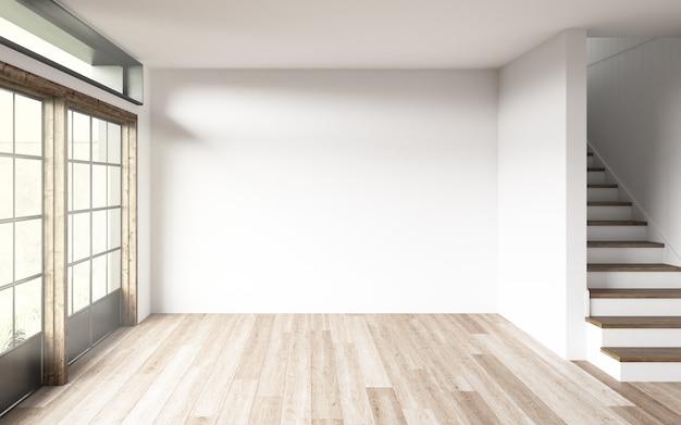 Parede em branco em uma sala com escadas e janelas.