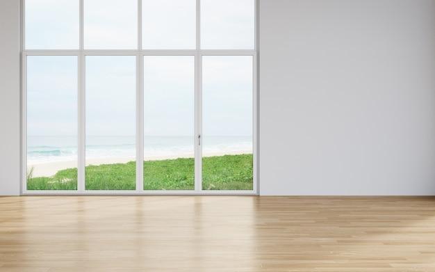 Parede em branco no chão de madeira vazio da grande sala de estar em uma casa moderna com vista para a praia e o mar