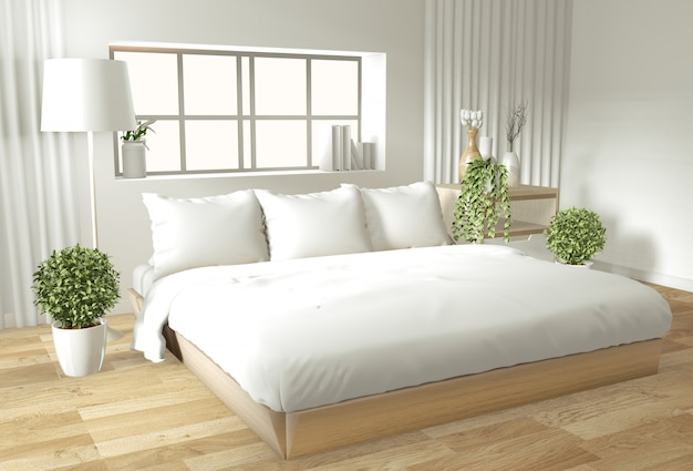 Parede interior casa simulado acima com cama de madeira, cortinas e estilo de estilo japonês de decoração no quarto zen