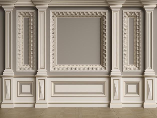 Parede interior clássica com molduras. espinha de peixe no chão. ilustração digital. renderização 3d