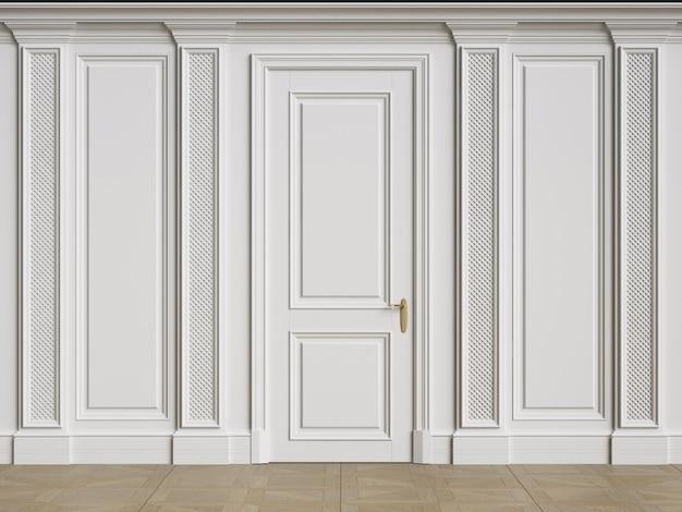 Parede interior clássica com molduras