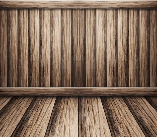 Parede interior com piso de madeira para o fundo