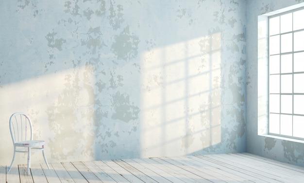 Parede interior de estilo loft com janelas brancas