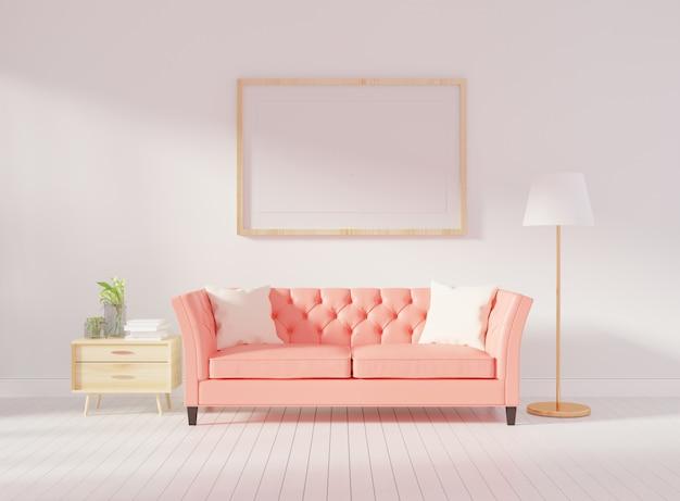 Parede interior de sala de estar mock up com sofá tufado-de-rosa