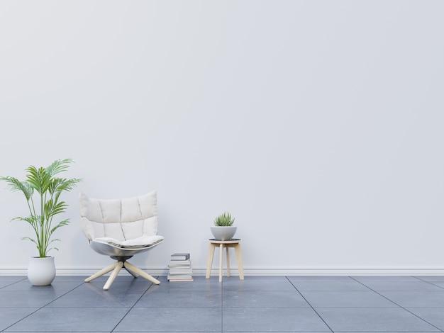 Parede interior mock up com poltrona, mesa, plantas em fundo branco vazio