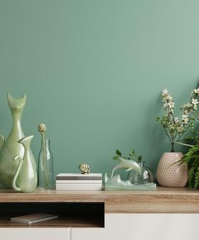 Parede interna com planta verde, parede verde e prateleira renderização 3d
