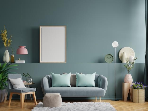 Parede interna da sala de estar em tons claros com sofá e abajur. renderização 3d