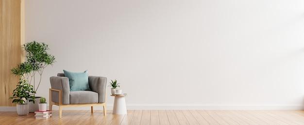 Parede interna da sala de estar em tons quentes, poltrona cinza sobre piso de madeira. renderização 3d