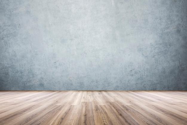 Parede laminada e de concreto, vista de uma sala vazia