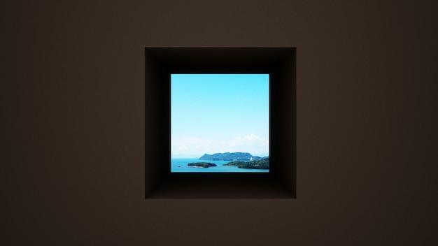 Parede marrom escuro com janela, vista para o mar e céu brilhante