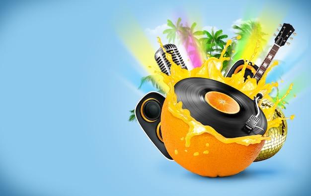 Parede musical com disco de vinil e laranja
