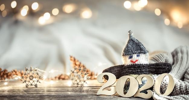Parede parede festiva de ano novo com números 2020.