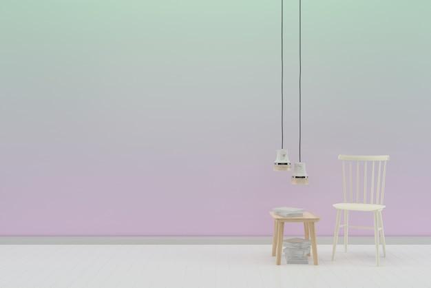 Parede pastel branco piso de madeira textura de fundo cadeira branca lâmpada livro de mesa