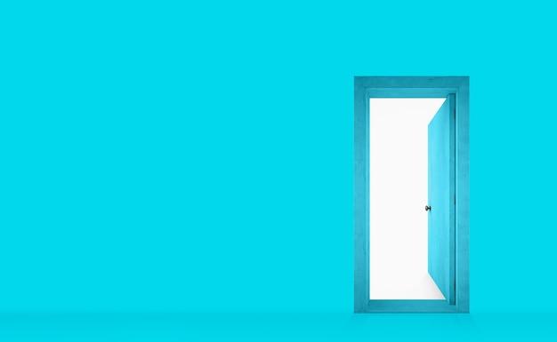 Parede pintada de ciano com uma porta aberta à direita