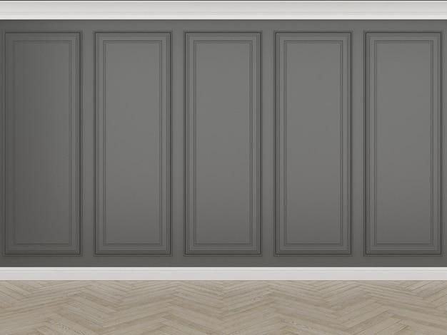 Parede preta clássica com piso de madeira