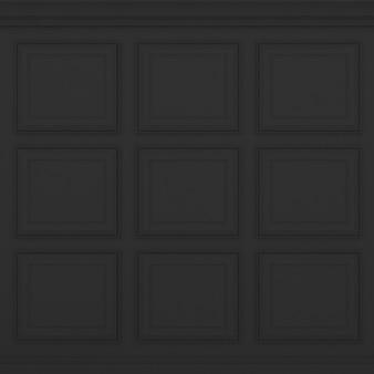 Parede preta clássica, renderização 3d