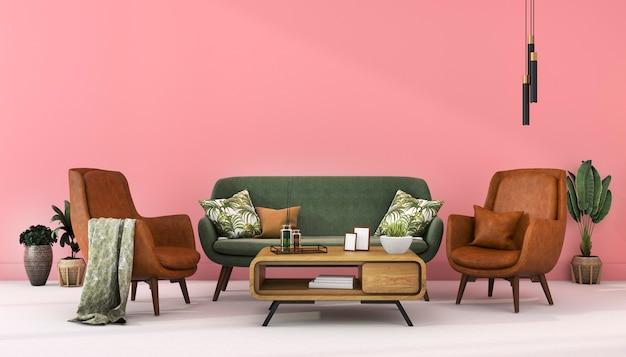 Parede rosa escandinava de renderização 3d com decoração de couro verde na sala de estar