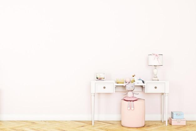 Parede rosa vazia no quarto infantil