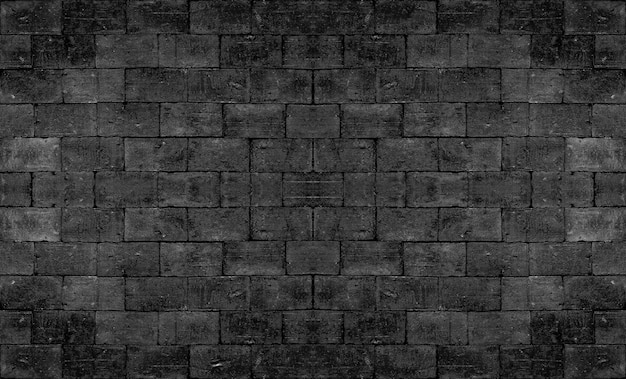 Parede textured do tijolo do quadrado preto velho para o design de interiores escuro do vintage do tom.