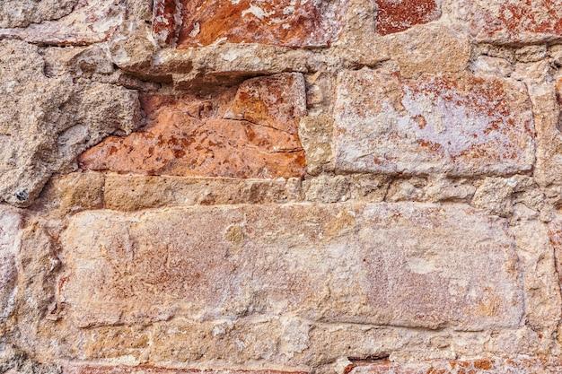 Parede texturizada de tijolo vermelho.