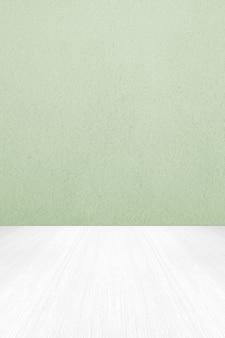 Parede vazia de cimento verde e fundo de piso de madeira branco para montagem de exposição de produto