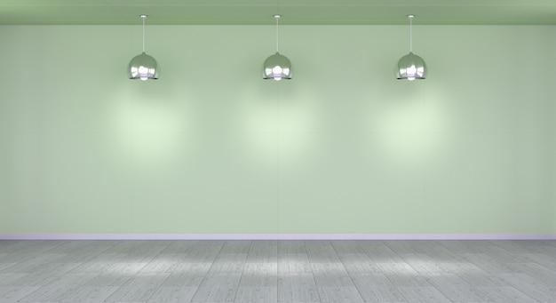 Parede vazia no museu com renderização 3d de luzes