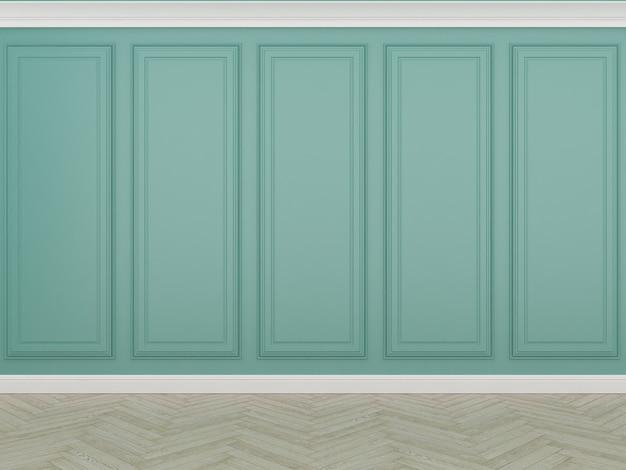 Parede verde clássica com piso de madeira