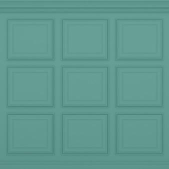 Parede verde clássica, renderização 3d