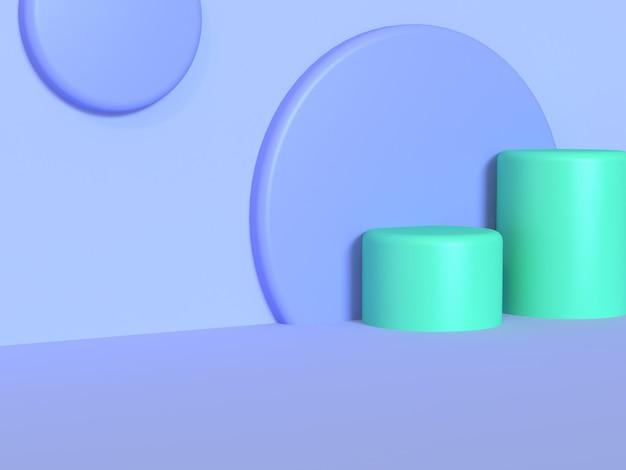 Parede verde do fundo violeta-azul-roxo da parede do cilindro rendição 3d abstrata mínima do fundo