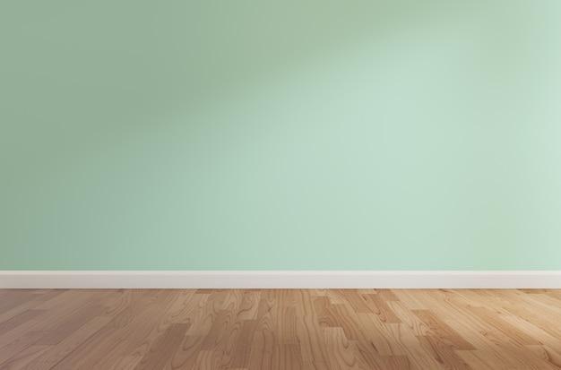 Parede verde e piso de madeira, renderização em 3d