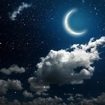 Paredes céu noturno com estrelas, lua e nuvens.