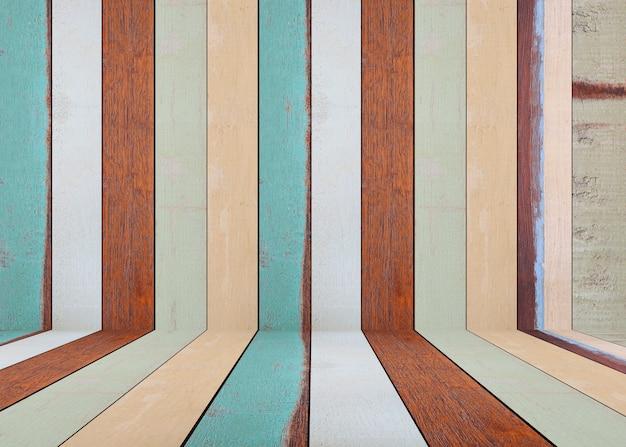 Paredes de madeira vintage e pisos de madeira de vazio e têm espaço de cópia.