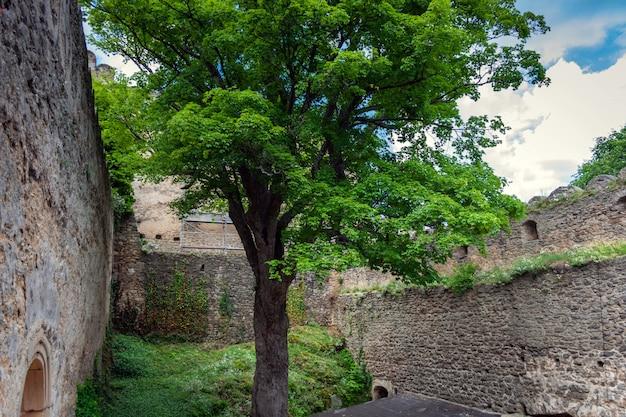 Paredes defensivas e fortificações de um castelo medieval.