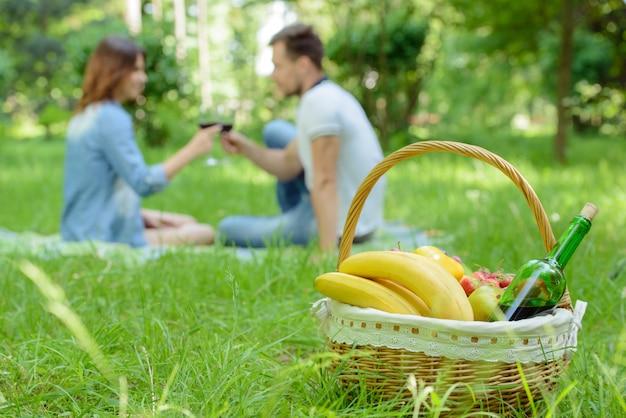 Pares felizes românticos no dia ensolarado da natureza dos prados.