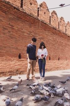 Pares que andam em uma rua com pombos
