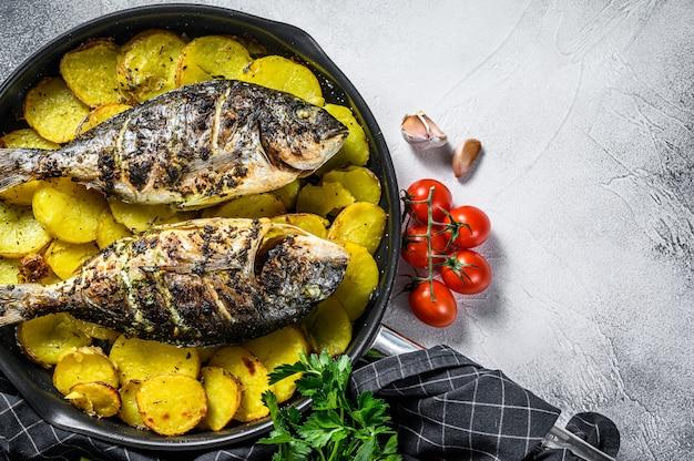 Pargo grelhado peixe com batatas em uma panela. fundo cinza. vista do topo. copie o espaço