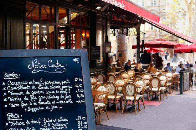 Paris restaurante com cardápio