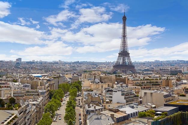 Paris, torre eiffel, ands, kyline, aéreo, frança