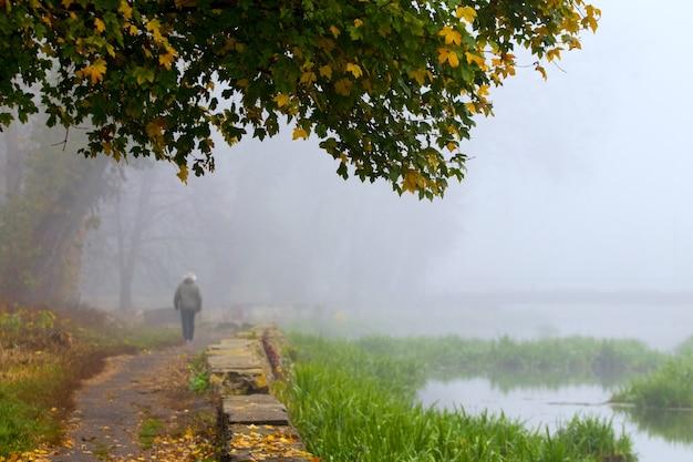 Parque da cidade velha no outono, homem andando no parque_