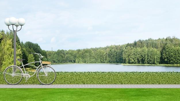 Parque de bicicletas e vista para o lago - renderização em 3d