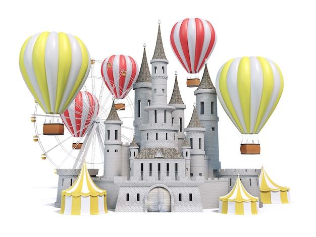 Parque de diversões, carnaval, feira de diversões, circo, festival de cena do dia, ilustração 3d