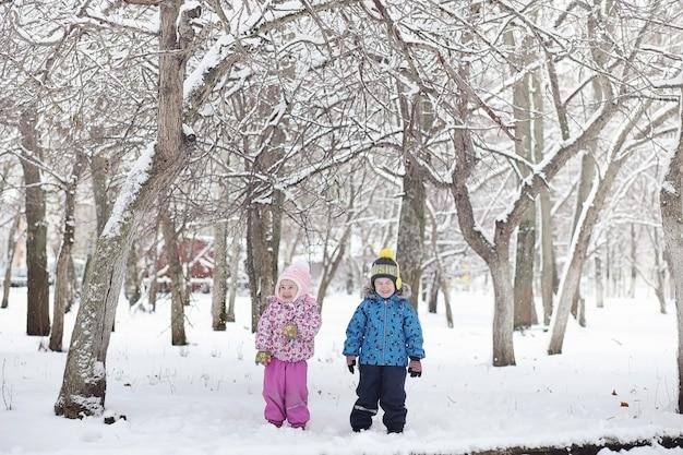 Parque de inverno coberto de neve e bancos. parque e píer para alimentar patos e pombos. a família em uma caminhada na neve cobriu o parque de outono.