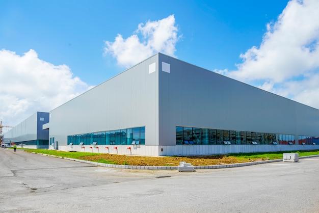 Parque industrial, fábrica de construção, armazém